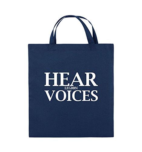 Comedy Bags - HEAR VOICES - LEGION - Jutebeutel - kurze Henkel - 38x42cm - Farbe: Schwarz / Silber Navy / Weiss