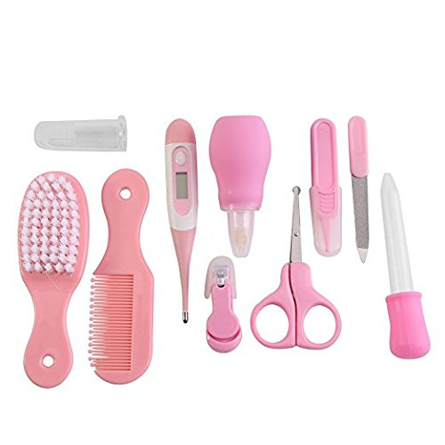 SYGA Premium Quality 10 Pcs Health Care Kit for Newborn Baby Kids Nail Hair Thermometer Grooming Brush(Pink)