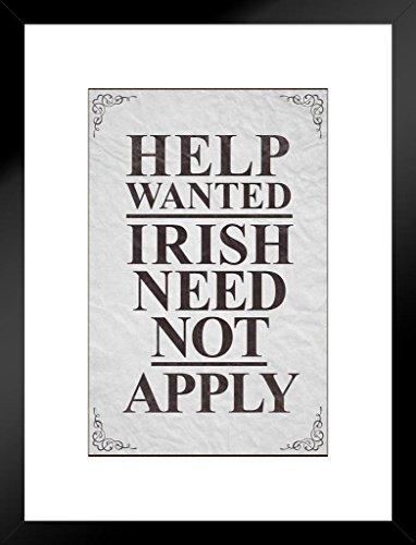 Help Wanted Irish Need Nicht Auftragen Vintage Sich, mattierte gerahmtes Poster von proframes 50,8x 66cm