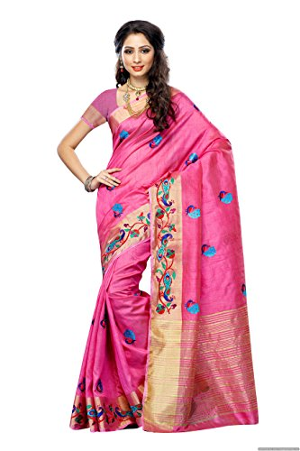 Mimosa Women'STassar silk Saree with Hand Embroidery Color: Pink(3220-2085-EMB-PINK)