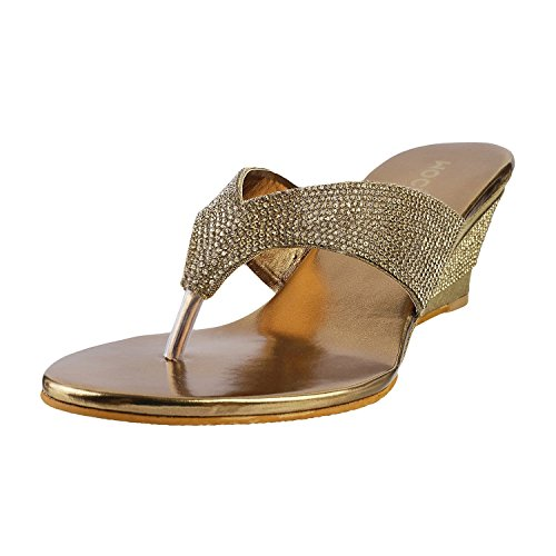 Mochi Women Antic-Gold Occasional Wedge image