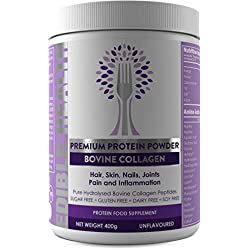 Bovine Hydrolysed Collagen Protein Powder - Wrinkles, Hair, Skin, Nails, Muscles, Bones, Joints, Gut, Pain, Injury, Sleep, Inflammation, Keto, Fitness & Fat Loss. No Flavour. Kosher, Halal & BSE Safe