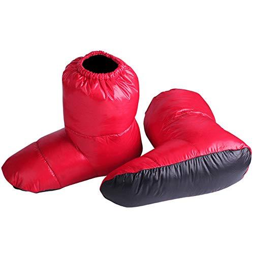 Juntful 1 Pair Duck Down Booties Socks Waterproof Sleeping Bag Slippers Ultralight Soft for Home Travel -