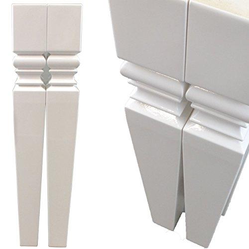 Esstisch Tischbein 4-er Set Lack Hochglanz Weiß 72cm Tischfuß Möbelbein