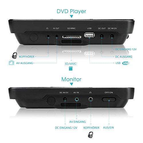 NAVISKAUTO 10,1 Zoll DVD Player Auto 2 Monitore Tragbarer DVD Player mit zusätzlichem Bildschirm 5 Stunden Akku Kopfstütze Monitor Fernseher Dual Bildschirm1014 - 6