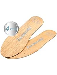 Zederello semelles en bois de cèdre, prévient contre les odeurs de pieds et les champignons - pack de quatre
