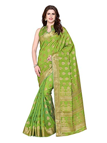 Kanjivaram Style Tussar Silk Saree Color: Green Olive Green Silk Saree