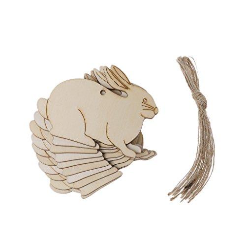 Lisanl, ornamento pasquale in legno da appendere, a forma di coniglio, 10 pezzi