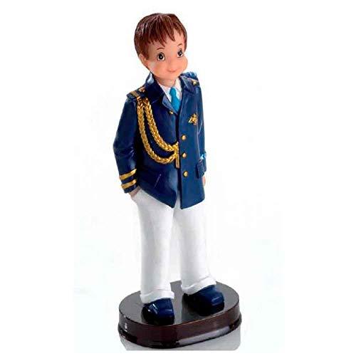 Figura para tarta de Primera Comunión de una niño almirante con chaqueta azul, pantalón blanco y galones. Un regalo barato y elegante para complementar la celebración de la Comunión de un niño.