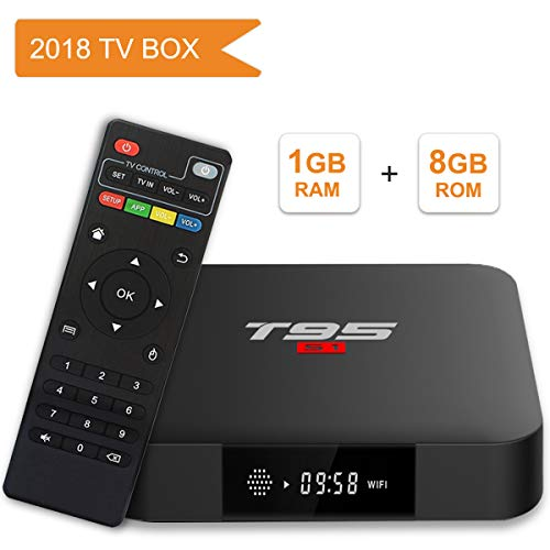 Android TV Box, T95 S1 Smart Box mit 1GB RAM 8GB ROM Android 7.1 Amlogic S905W Quad Core Cortex-A53 Processor HDMI 2.0 H.265 2.4GHz WiFi 100M Ethernet