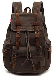 Ecocity Vintage Canvas Backpack Rucksack Schoolbag (Army Green)