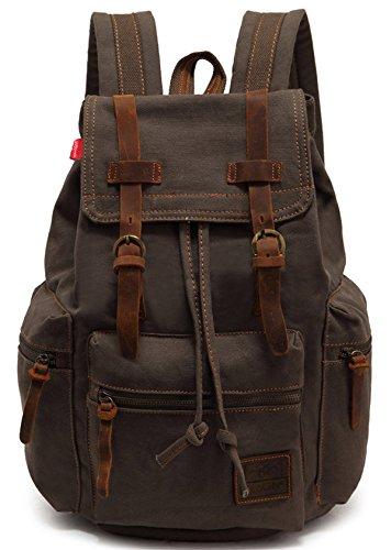 Imagen de ecocity unisex vintage lonas laptop backpack rucksack  escolar, verde militar