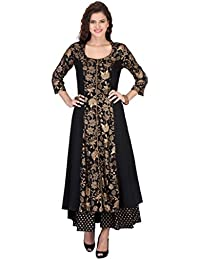 Varanga Women's Black Rayon Printed Flared Kurta With Palazzo