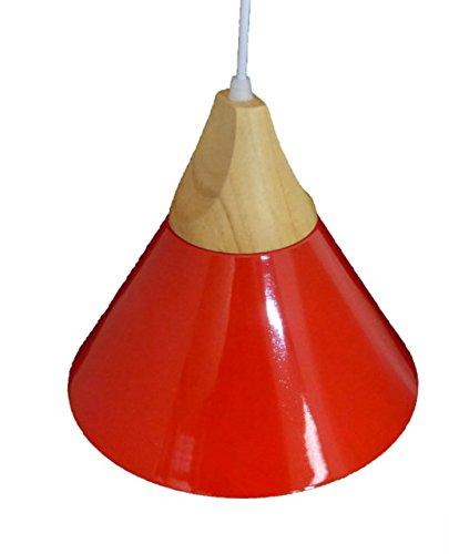 Suspension métal et bois rouge intérieur blanc