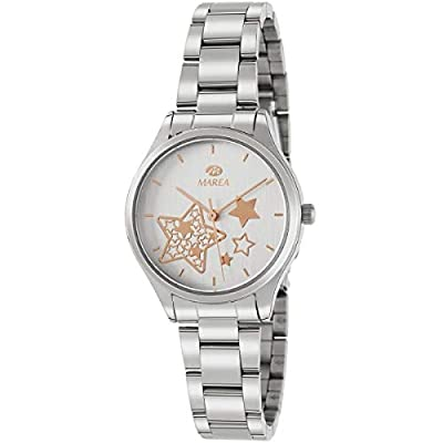 Marea B41240/2 Reloj para Mujer con Correa Plateada y Pantalla en Blanco
