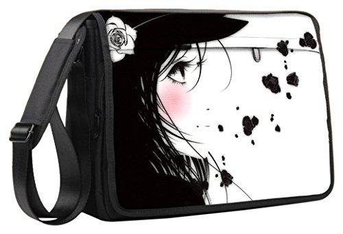 Luxburg® Luxus Design 33cm Schultergurt Messenger Tasche für Laptop/Notebook/– Manga Girl