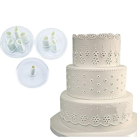 Inovey 3Pcs Bouchon En Dentelle Fondant En Plastique Cuttter Cake Cookie Buscuit Moule Boulangerie Décoration Outils Sugarcraft