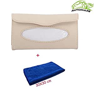 Automaze Car Sun Visor Beige Tissue/Napkin Box Holder | car accessories interior decoration | Free Microfiber Cleaning Cloth(30X 30cm)
