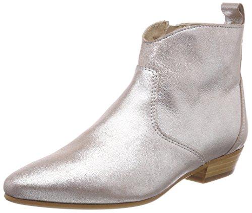 Marc O'Polo Damen Flat Heel Bootie Schlupfstiefel, Silber (Silver), 37.5 EU (Stiefel Damen Flat Heel)
