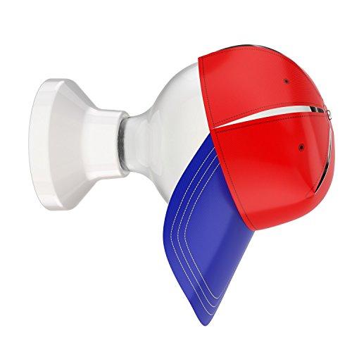 Blau-matt-wandleuchte (ledscom.de LED Wandleuchte Elektra Porzellan Kugel inkl. E27 G125 Lampe matt 6W=59W warmweiß 780lm & Blendschutz-Cappy rot/blau)