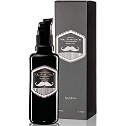 Mr. Burton´s Beard Oil - Bartöl CLASSIC - unverwechselbarer Duft - 50ml Bart Öl für die Bartpflege Made in Germany mit Arganöl Tierversuchsfrei