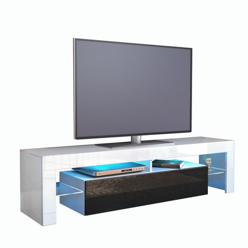 meuble-tv-bas-lima-corps-en-blanc-facades-en-noir-metallique-haute-brillance