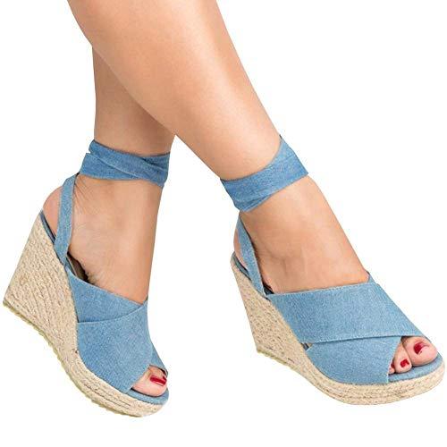 798ca8c6a Minetom Mujer Sandalias Dulce Alpargatas Chancletas De Tacón Alto  Plataforma Cuña Playa Zapatos de Verano Hebilla