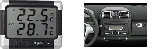Thermometre Intérieur/Extérieur Noir/Argent Auto Voiture Camping car