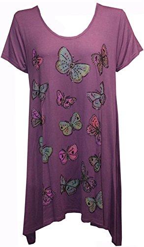 Damen Short Sleeve Sommer Schmetterling Tunika Kaften Taschentuch Saum Top Plus Größe Magenta