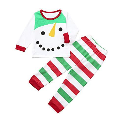 n Mädchen Weihnachten langärmeligen Weihnachten Schneemann gestreiften T-Shirt Tops + Bedruckten Hosen Anzug Weihnachtsfeier Partei Modehemd Pyjama Strampler Base Suit ()