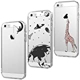 CreWin 3 x Coque iPhone Se 5 5S Silicone Transparente Motif Pomme Créatif Design...