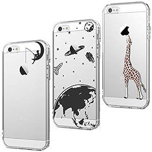 CreWin Kompatibel mit iPhone X 5 SE 6S 7 8 Plus Hülle Transparent Handyhülle Weiche Silikon Bumper Durchsichtig Schutzhülle Handytasche Case Cover
