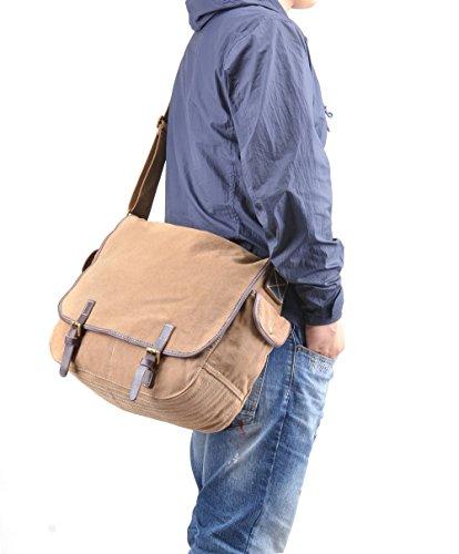 Gootium 51029da uomo, in tela borsa a tracolla scuola lavoro giorno Satchel Bag Coffee