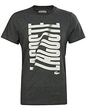 Lacoste TH8025 Herren T-Shirt mit Lacoste Logo Druck, Rundhals, Kurzarm, Regular Fit, 100% Baumwolle