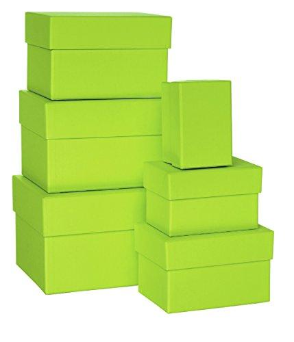 Rössler Papier 1344453320 Boxle Lot de 6 boîtes rectangulaires en carton de tailles variées Vert lime