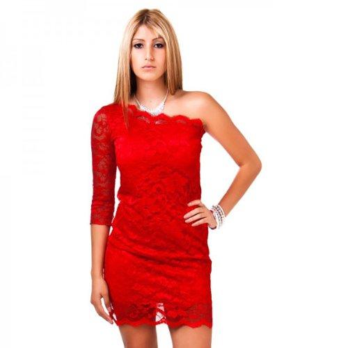 24brands - Robe minirobe une épaule cocktail soir dentelle 11 couleurs - Femmes Rouge