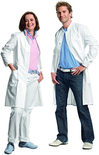 02 Visitenmantel Mantel weiß Unisex für Damen und Herren, Stehkragen, Normallänge, Mischgewebe, Größe XXL (Medizinischen Labor-mäntel Für Männer)