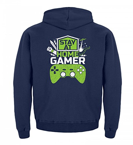 Shirtee Hochwertiger Kinder Hoodie - Stay At Home Gamer - Gaming Videospiele Zocker Zocken Online Multiplayer Videogames Marineblau
