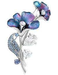 Glamorousky Púrpura Broche De Flor Azul Con Azul, Cristales Del Elemento Del austriaco De Color Púrpura Y Plata Cz (4949)