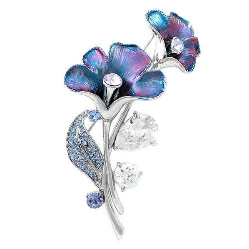 Glamorousky Violett-Blauen Blüten Brosche Mit Blau, Lila Austrian Elements -Kristallen Und Silber Cz (4949)
