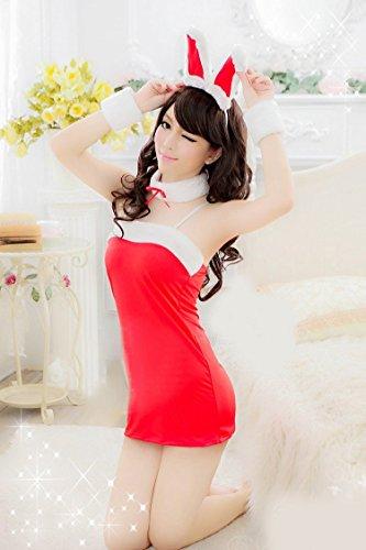 Shangrui Femmes Lapin Mignon Racy Lingerie Uniformes de Jeu Suit Jeu de Rôle Nightclub Dress YH061 Rouge