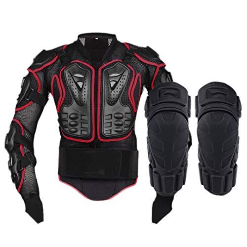 Gratydallks Motorradjacke Motorrad Körper Rüstung Schutzjacke + Schutz Motorrad Knie Pad Kits Anzüge Motocross Rüstung B STYLE RED XXL