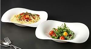2 Assiettes à pâtes motifs design ronde blanc pasta assiettes creuses opale arcoroc à salade