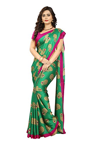 Jaanvi Fashion Women's Peacock Printed Crepe Silk Kalamkari Printed Saree (Green)