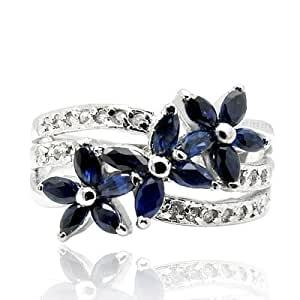 100% Genuine Nature Sapphire 925 Sterling Silver Platinum Plating LUXURY Ring Gem Fine Jewellery-SizeZ