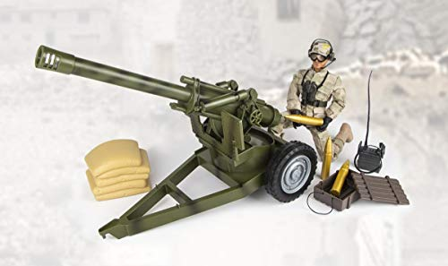 World Peacekeeper Military Action Figure with Howitzer | 30,5cm High | 1: 6 Scale | Combat Soldier with more than 30 Accessories | Intended for children and adults