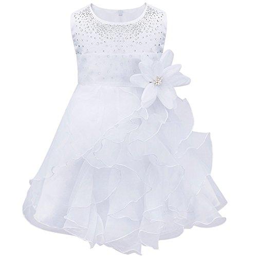 TiaoBug Bébé Fille Robe de Baptême Tutu sans Manche Fleur Robe de Cérémonie Mariage 3 Mois-3 Ans Blanc 18-24 Mois