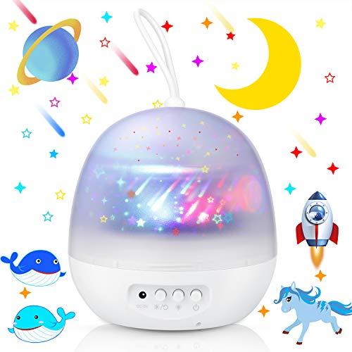 Homealexa Sternenhimmel Projektor Lampe Baby Nachtlicht 360° Rotierend Sternenprojektor mit 3 Projektionslampe Kappen und 8 Modi Licht, USB/Batterie Betrieben, Perfekt für Kinderzimmer Geschenk (Weiß)