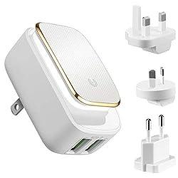 Oria USB Reiseadapter, Wandladegerät, 2 Ports USB Ladegerät, 12W/2.4A Schnellladegerät mit LED-Touch-Nachtlicht, 3 Austauschbare UK / AU / EU-Stecker