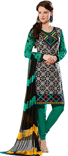 Tangerines Tfw Green Color Unstitched Salwar Kameez Dress Material